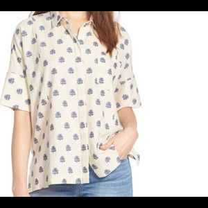 Madewell cream button down shirt size M